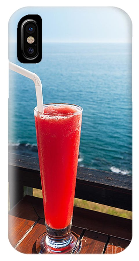 Alcohol IPhone X Case featuring the photograph Strawberry Smoothie Soda by Atiketta Sangasaeng