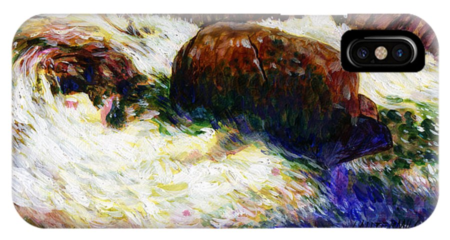 Mountain Stream IPhone X Case featuring the painting Stream Somewhere in the Rockies by John Lautermilch