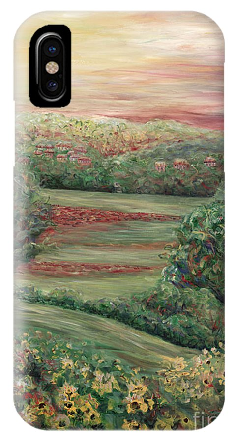 Tuscany IPhone X Case featuring the painting Summer In Tuscany by Nadine Rippelmeyer