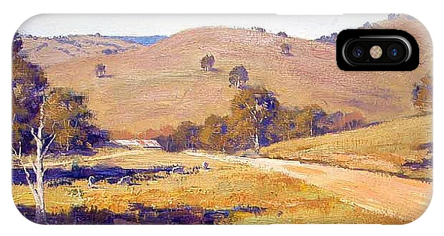 Rural IPhone X Case featuring the painting Summer Landscape by Graham Gercken