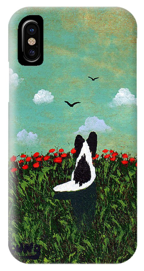 Black IPhone X / XS Case featuring the painting Summer Poppies by Todd Young