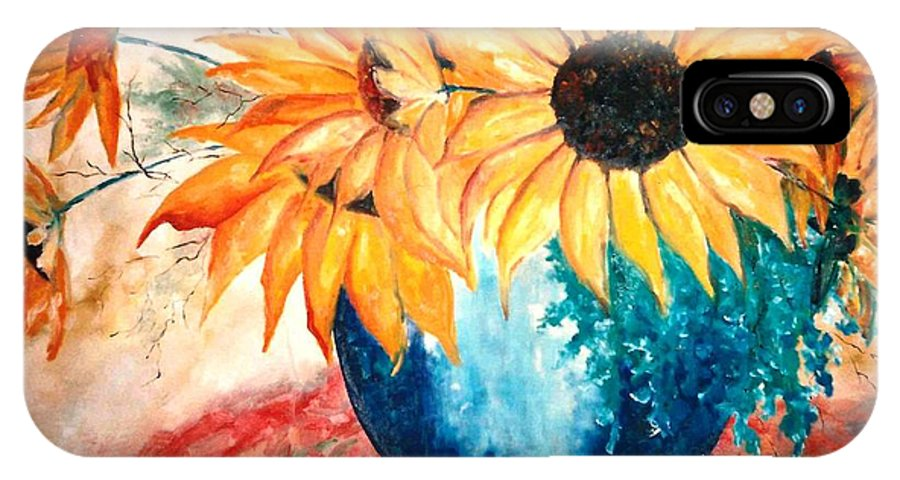 Lyle IPhone X Case featuring the painting Sun Flower by Lord Frederick Lyle Morris - Disabled Veteran
