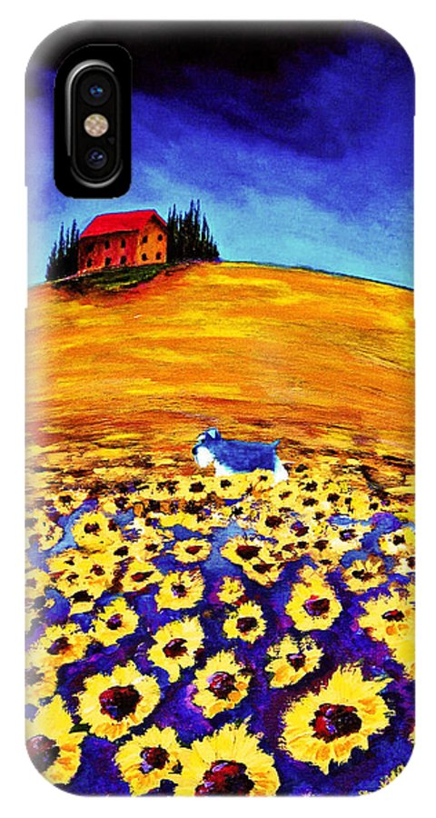 Schnauzer IPhone X Case featuring the painting Sunflower Field by Todd Young