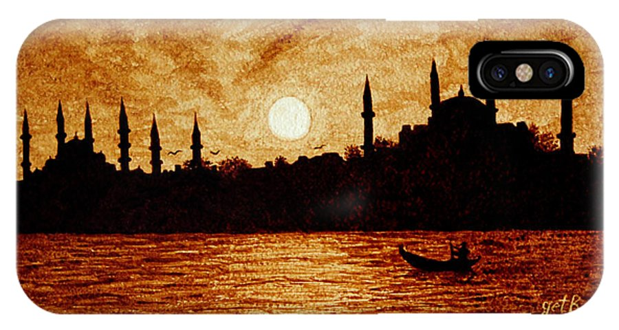 Sunset Over Istanbul Coffee Painting Art IPhone X Case featuring the painting Sunset Over Istanbul Original Coffee Painting by Georgeta Blanaru