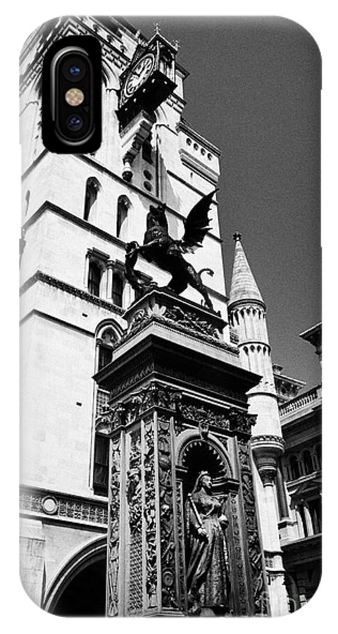 Temple IPhone X Case featuring the photograph temple bar marker with dragon on the strand London England UK by Joe Fox