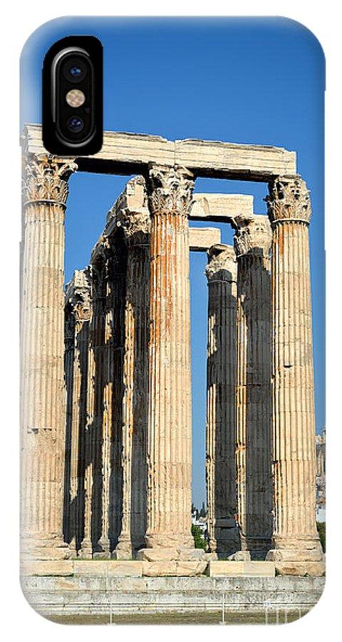 Jupiter; Zeus; Jove; Olympian; Acropolis; Acropoli; Akropoli; Akropolis; Monument; Monuments; Athens; City; Capital; Attica; Attika; Attiki; Greece; Hellas; Greek; Hellenic; Europe; European; Temple; Temples; Ancient; Antiquities; Holidays; Vacation; Travel; Trip; Voyage; Journey; Tourism; Touristic; Summer; Pillar; Pillars IPhone X Case featuring the photograph Temple Of Olympian Zeus And Acropolis In Athens by George Atsametakis