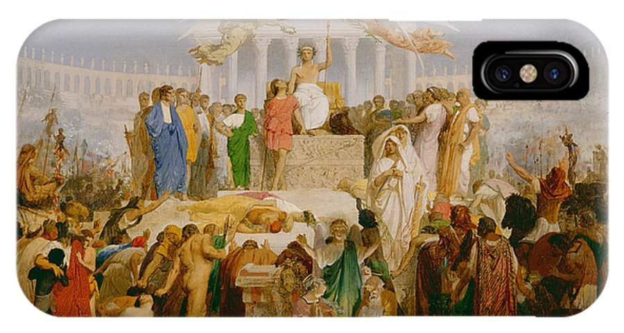 Crowd; Temple Of Janus; Caesar; Roman; Rome; Classical; Scholars; Statesmen; Nativity Scene; Allegory; Personification; The Age Of Augustus IPhone X Case featuring the painting The Age Of Augustus The Birth Of Christ by Jean Leon Gerome