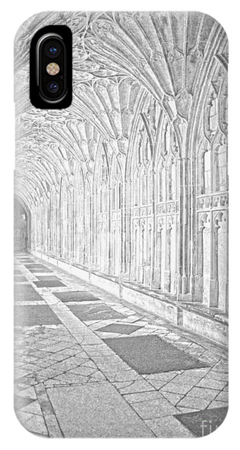Cathedral IPhone X Case featuring the photograph The Cloister In Gloucester Cathedral by Luis Alvarenga