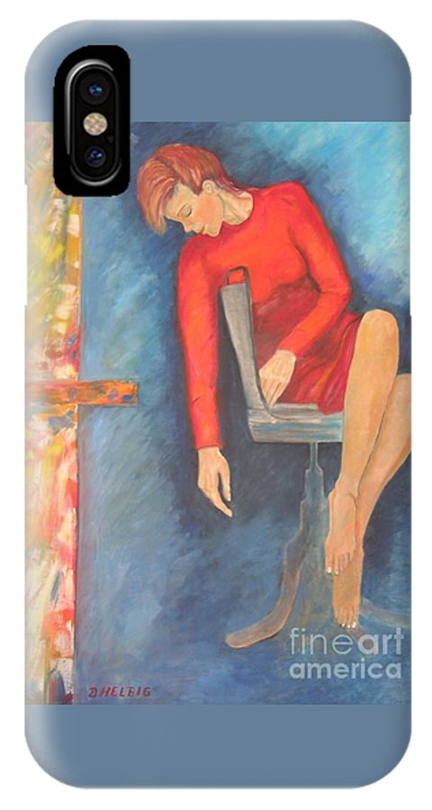 Girl IPhone X Case featuring the painting The Dream by Dagmar Helbig