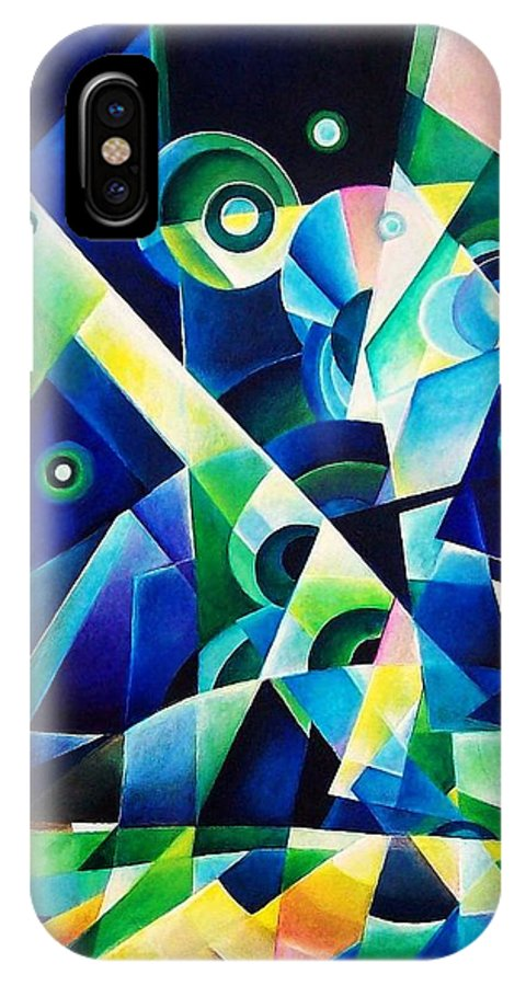 Gates Acrylics Abstract IPhone X Case featuring the painting The Gates by Wolfgang Schweizer