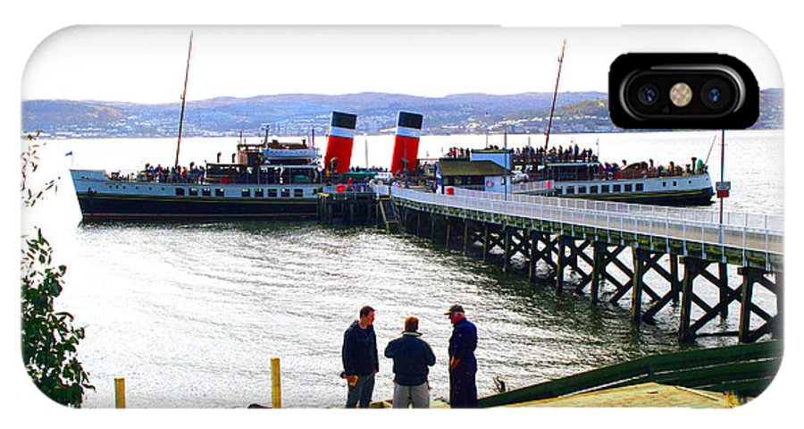 Paddle.steamer.waverley.boat.ship.nautical.shipyard.glasgow.oceo IPhone X Case featuring the photograph The Waverley Sails Down The River Clyde by David Cairns