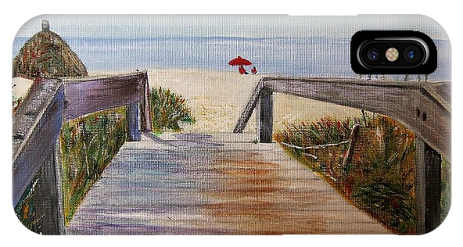 Walkway IPhone X Case featuring the painting To The Beach by Marilyn McNish