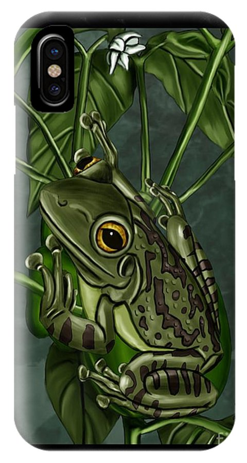 Frog IPhone X / XS Case featuring the painting Tree Frog by Karen Sheltrown