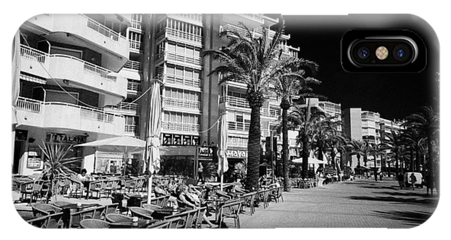 Tree IPhone X Case featuring the photograph Tree Lined Seafront Promenade With Restaurants And Apartment Blocks Salou Catalonia Spain by Joe Fox