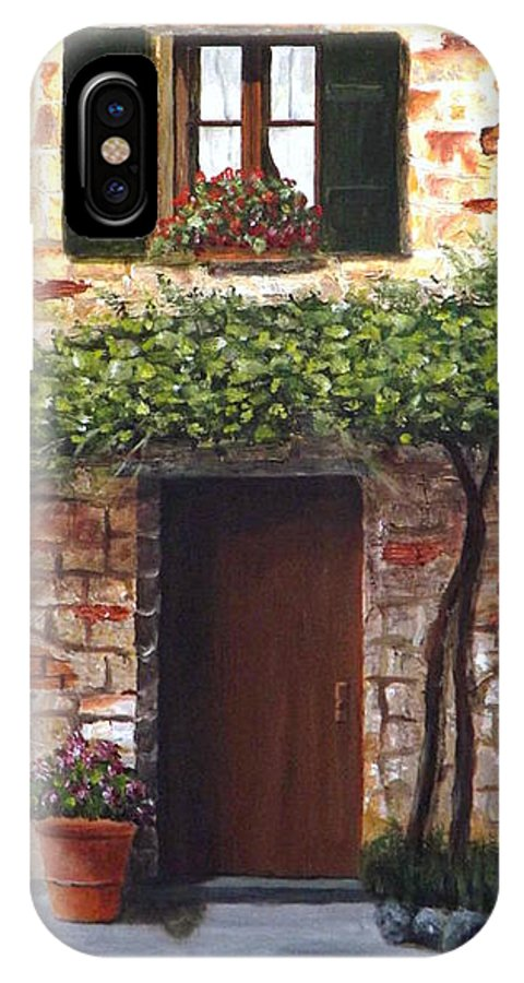 Tuscany IPhone X Case featuring the painting Tuscan Casa Montepulciano by Gino Didio