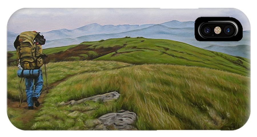 Hump Mountain IPhone X Case featuring the painting Two Paths Diverged On A Bald And Sorry I Could Not Travel Both by Ann Holder
