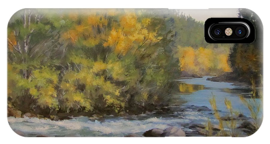 River IPhone X Case featuring the painting Umpqua Fall by Karen Ilari
