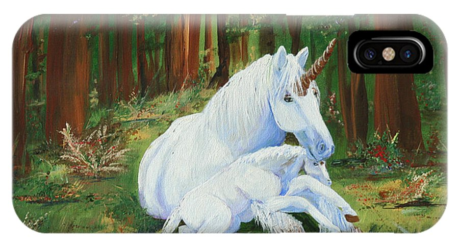 Unicorns Lap IPhone X Case featuring the painting Unicorns Lap by Gail Daley