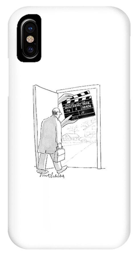 Word Play Show Biz   (man Walking Out His Front Door Encounters A Large Movie Clapboard That Says IPhone X Case featuring the drawing New Yorker November 28th, 2005 by Mort Gerberg