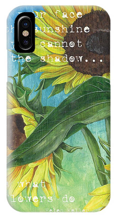 Flowers IPhone X Case featuring the painting Vince's Sunflowers 1 by Debbie DeWitt