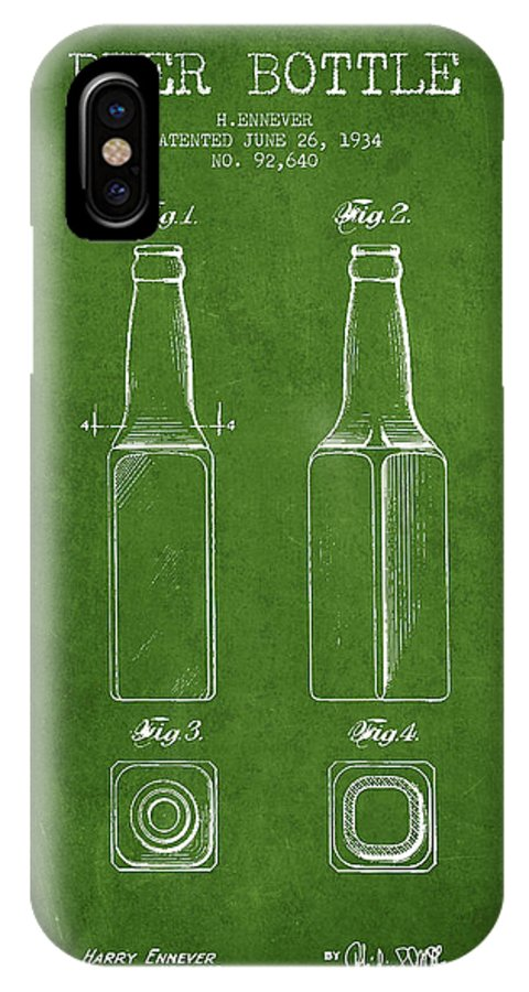 Bottle Patent IPhone X Case featuring the digital art Vintage Beer Bottle Patent Drawing From 1934 - Green by Aged Pixel