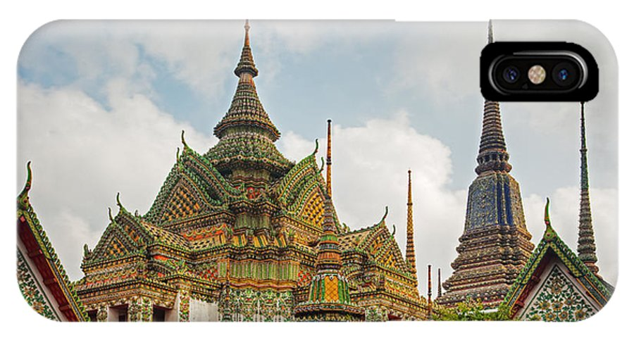Ornate IPhone X / XS Case featuring the photograph Wat Pho, Thailand by David Davis
