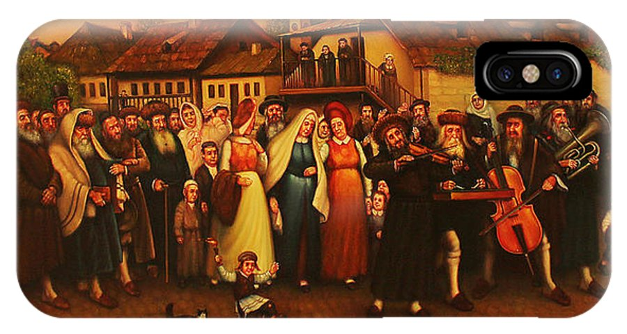 Realism. Figurative Composition. Jewish Life. IPhone X Case featuring the painting Wedding In Jewish Quarter. by Eduard Gurevich