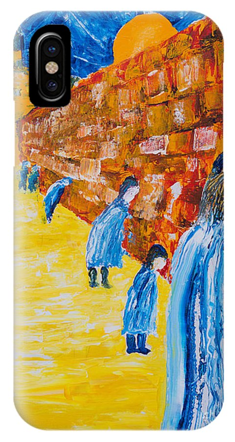 Western Wall IPhone X Case featuring the painting Western Wall by Walt Brodis