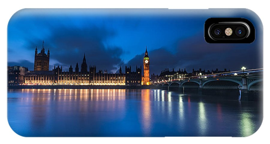 Westminster IPhone X / XS Case featuring the photograph Westminster Blue Hour by Matt Malloy