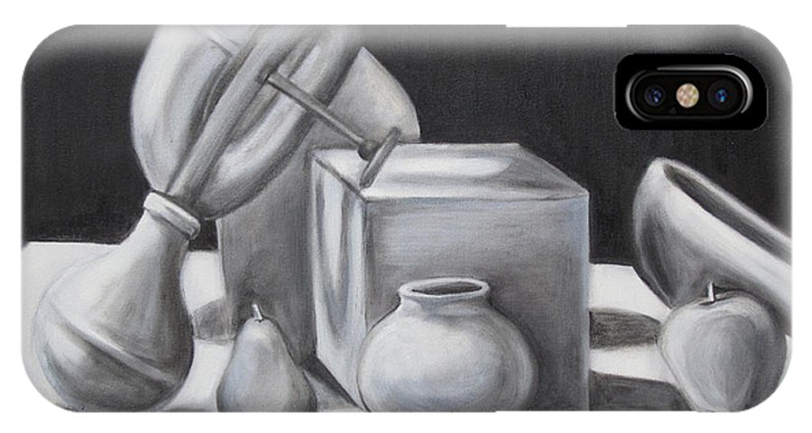 Still Life IPhone X Case featuring the painting White Noise by Jeffrey Oleniacz