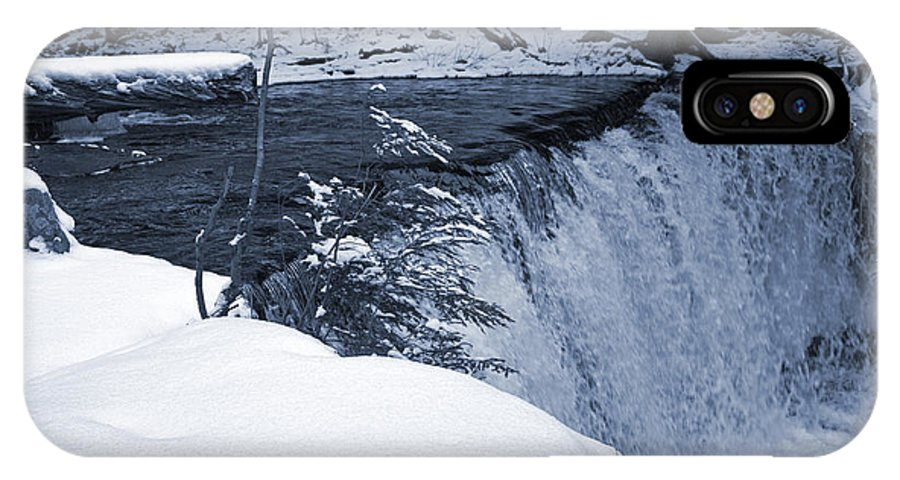Waterfall IPhone X Case featuring the photograph Winter Waterfall Snow by John Stephens
