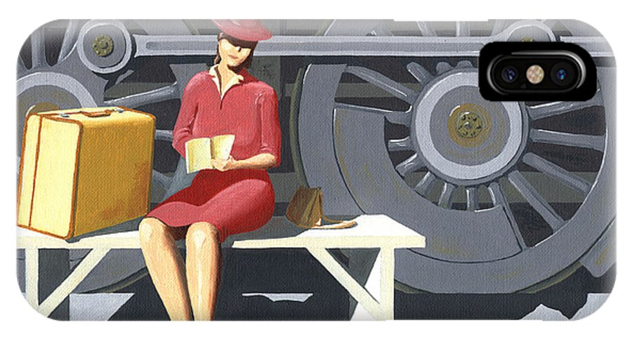 Woman IPhone Case featuring the painting Woman With Locomotive by Gary Giacomelli