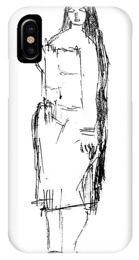 Yakshi IPhone X Case featuring the drawing Yakshi4 by Namath Dev