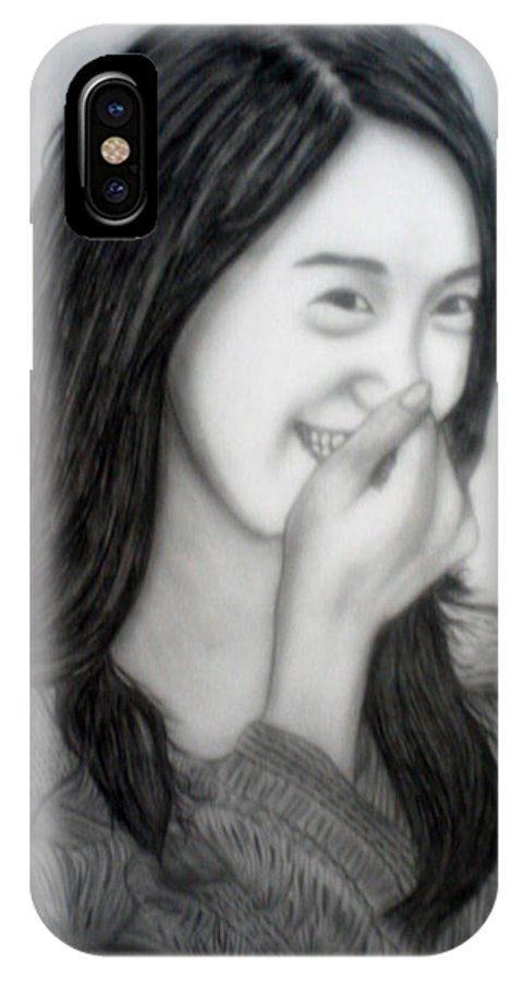 Yoona IPhone X Case featuring the drawing Yoona by Frithjov Dimaano