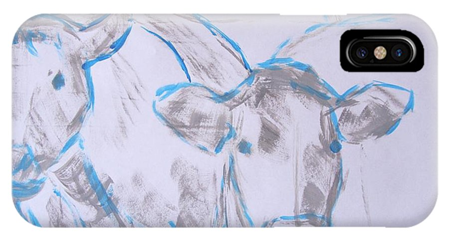 Cow IPhone X Case featuring the painting Cows by Mike Jory