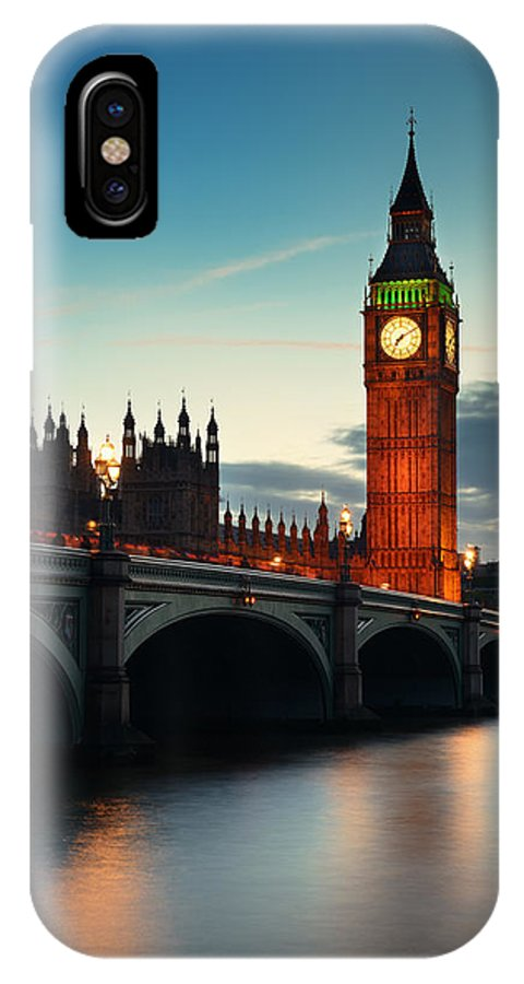 London IPhone X Case featuring the photograph London At Dusk by Songquan Deng