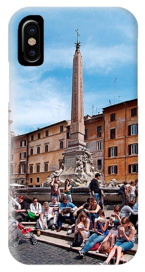 Piazza Della Rotonda IPhone X Case featuring the photograph Piazza Della Rotonda In Rome by George Atsametakis