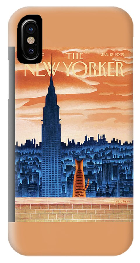 Nyc IPhone X Case featuring the painting New Yorker January 12th, 2009 by Mark Ulriksen