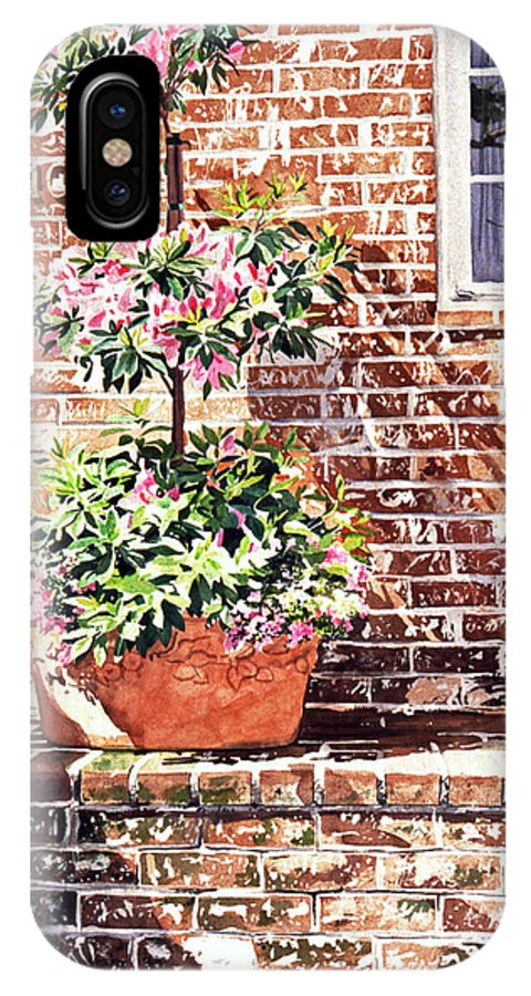 Watercolor IPhone X Case featuring the painting 1067 Azalea Way by David Lloyd Glover