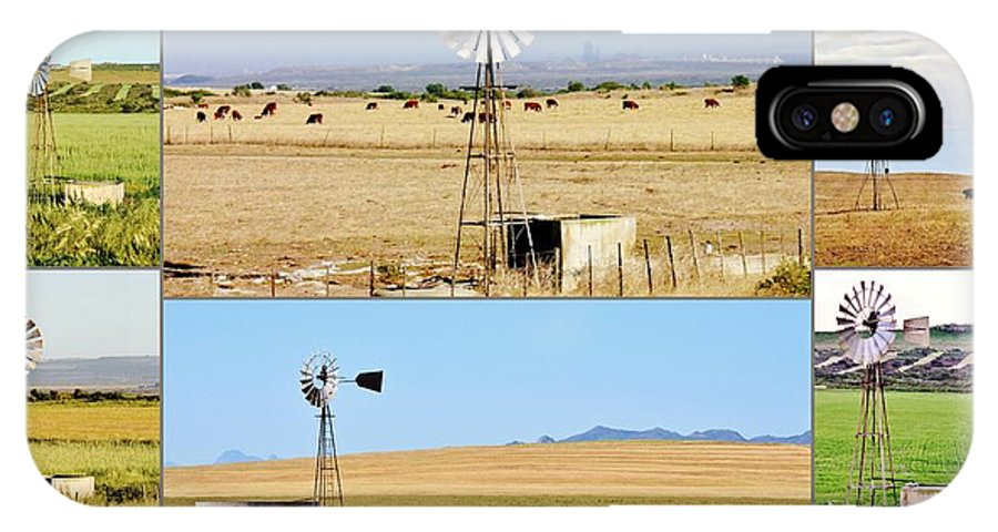 Water Pump; Windmill; Summer; Warm; Wind; Sky; Grass; South Africa; Landscape; Nature; Rural; Background; Decorative; Green; Meadow; Tank; Concrete; Swartland; Blue; Metal; Wheel; Collage; IPhone X Case featuring the photograph Windmill Water Pump by Werner Lehmann