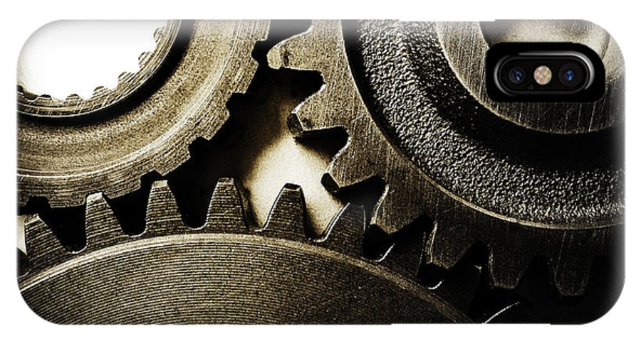 Gearing IPhone X Case featuring the photograph Cogs No12 by Les Cunliffe