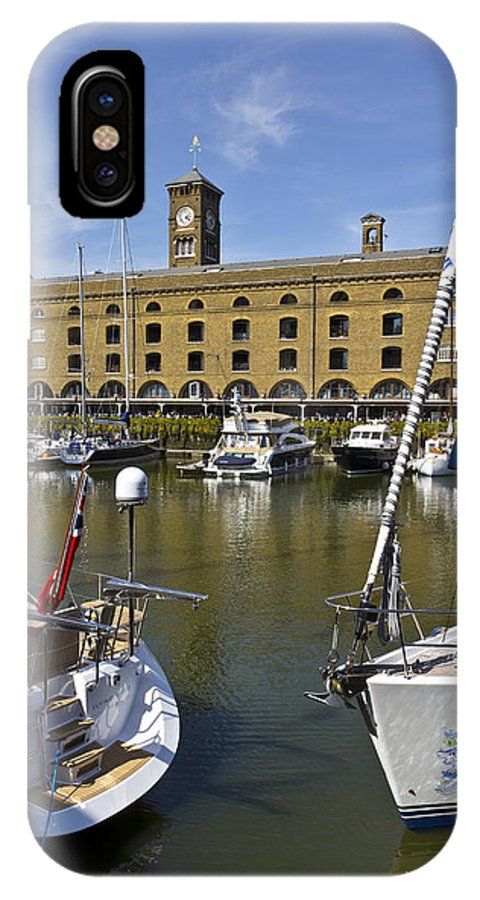 River Thames IPhone X / XS Case featuring the photograph St Katherines Dock London by David Pyatt