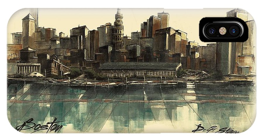 Fineartamerica.com IPhone X Case featuring the painting Boston Skyline by Diane Strain