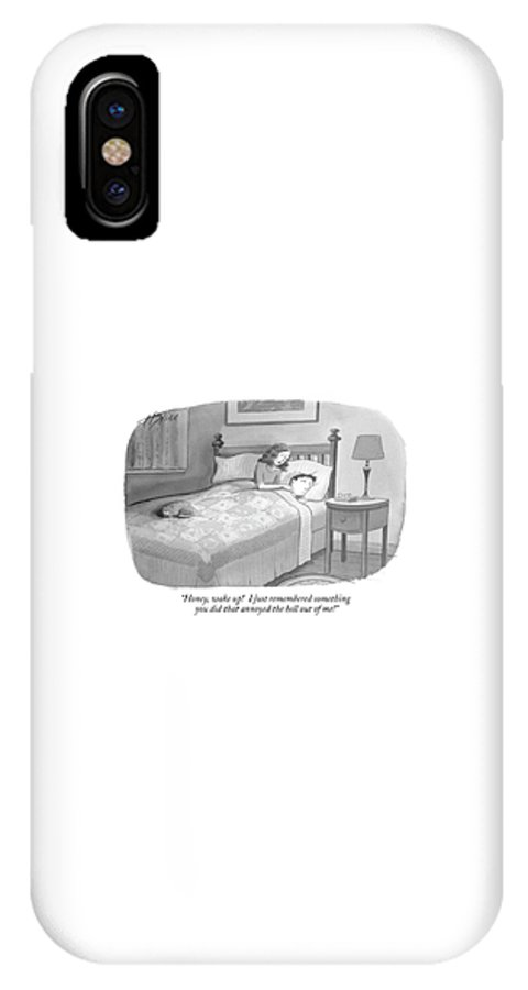 Marriage Relationships Couple Asleep Bedroom Problems  (woman Waking Up Her Husband In Bed. ) 122183 Hbl Harry Bliss IPhone X Case featuring the drawing Honey, Wake Up! I Just Remembered Something by Harry Bliss