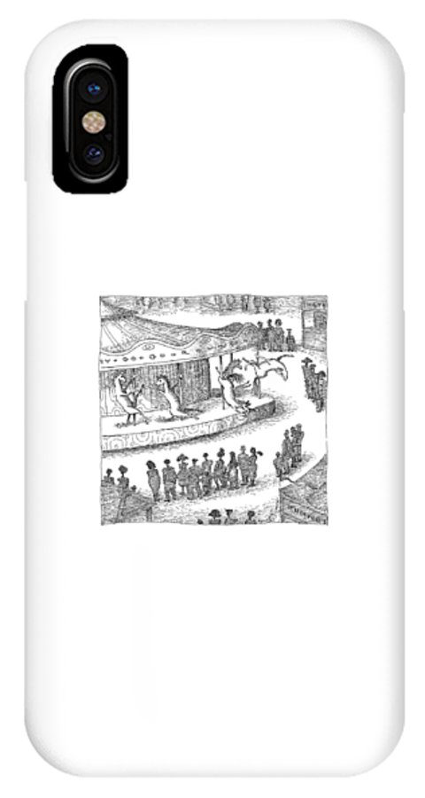 Captionless. Merry-go-round IPhone X Case featuring the drawing New Yorker June 1st, 2009 by John O'Brien