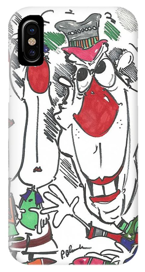 Drawing IPhone X Case featuring the drawing 121 by Philip Blanche