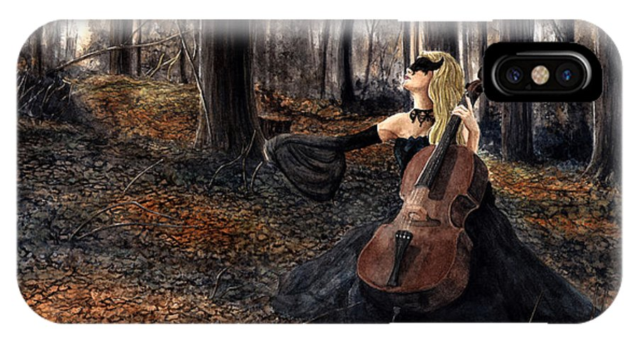 Dark Fantasy IPhone X Case featuring the painting 13 Autumns And A Widow by Melodie Pellizzer