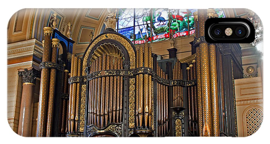 """Liverpool; St Georges Hall; Organ; Pipes; Stained Glass; Grade 1 Listed"""" IPhone X Case featuring the photograph Interior Of St Georges Hall Liverpool Uk by Ken Biggs"""