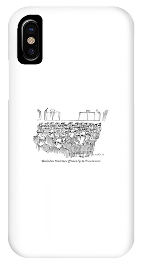 Senility IPhone X Case featuring the drawing Remind Me To Take These Off When I Go by Michael Crawford