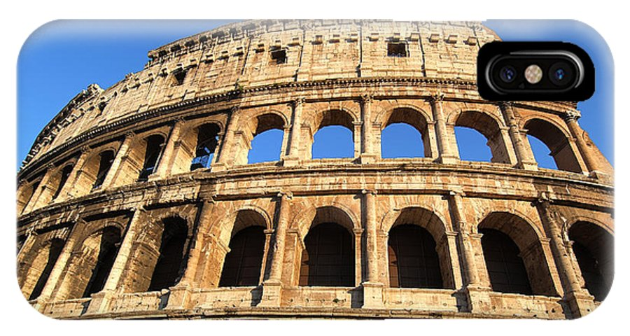 Colosseum; Rome; Italy; Roma; Afternoon; Light; City; Capital; Colosseo; Lazio; Center; Central; Historic; Historical; Monument; Memorial; Travel; Trip; Journey; Holidays; Vacation; Sunny; World Heritage City IPhone X Case featuring the photograph Colosseum In Rome by George Atsametakis